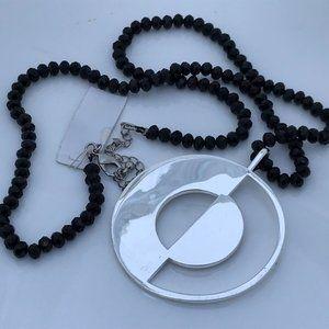 Argento Vivo Necklaces Silver Tone Black Beaded St